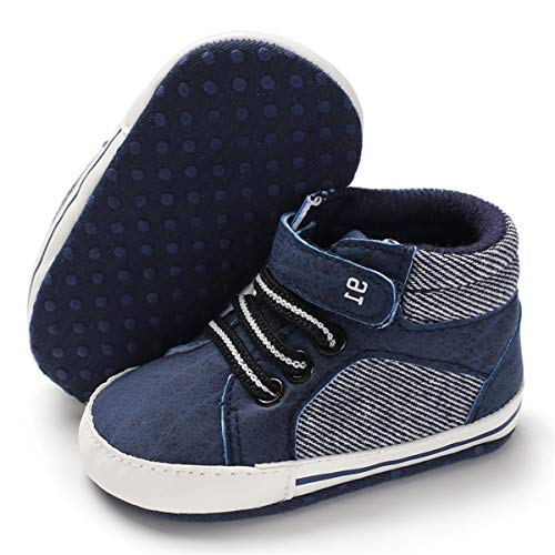 BENHERO Baby Girls Boys Canvas Shoes Toddler Infant First Walker Soft Sole High-Top Ankle Sneakers Newborn Crib Shoes (12-18 Months M US Infant, E-Navy