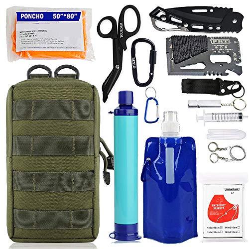 Kit d'équipement de survie EDC d'urgence Purificateur de filtre à eau personnel Paille, Pochette Molle Outils tactiques d'équitation de défense contre les traumatismes mais hors sac pour camping