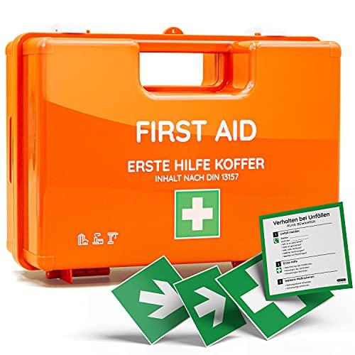 Erste-Hilfe-Koffer für Betriebe mit Inhalt nach DIN 13157 in orange, Verbandkasten gefüllt, inkl. Wandhalterung + 4 Aufkleber (Erste-Hilfe Koffer)