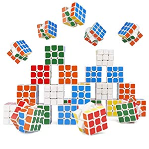 THE TWIDDLERS - 30 Mini Puzzle Speed Cube Toys for Parties & Gift Bags - 3cm