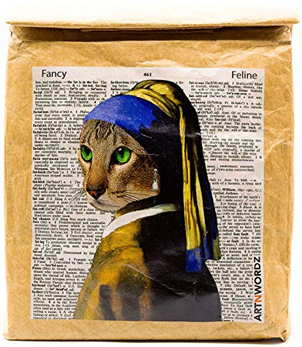 Blue Cat - Reusable & Insulated Tyvek Paper Kraft Art Lunch Bag – 8 hours Hot or Cold