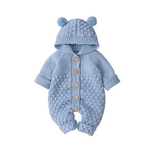 Mamelucos de Punto con Capucha para bebés Recién Nacidos Niñas Niños Onesies Suéter cálido Trajes de Mono