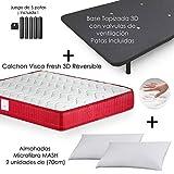 MICAMAMELLAMA Colchón Viscoelástico VISCO Confort Fresh 3D Reversible + Base Tapizada con Patas 26cm + 2 Almohadas...