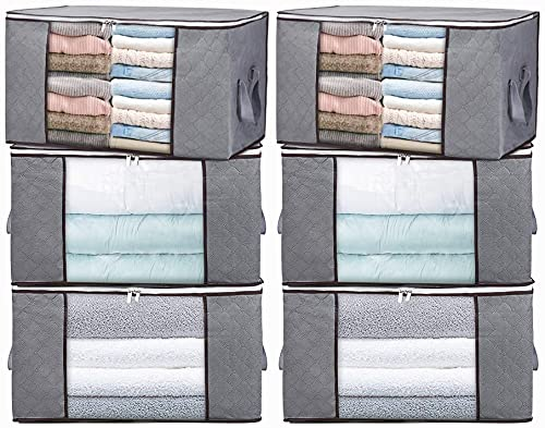 Large Capacity Clothes Storage Bag Organizer with Double Zipper,Duvet Storage Bags with Large Clear Window & Portable Handles,Great for Clothes, Blankets, Closets, Bedrooms Cleaning(6 packs)