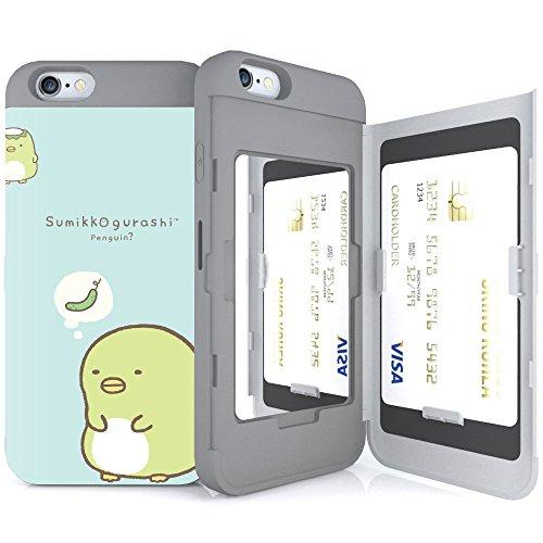 iPhone6S ケース 《SKINU》 すみっコぐらし・カード収納可能・衝撃吸収抜群・傷防止・ミラー付き・スタンド機能・ICカード/クレジットカード完璧収納(ペンギン)