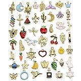 GOTONE 50 Stück Emaille Charme Anhänger Gemischte Stile Überzogene Emaille zum Armband Halskette Ohrring Charms Schmuck Handwerk Bilden