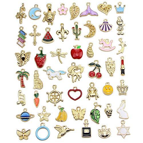 GOTONE 50 Pezzi Smalto d'oro Fascino Stili Misti Smalto Laccato per Gioielli Fai da Te, collane, bracciali, Orecchini, Regali per Natale