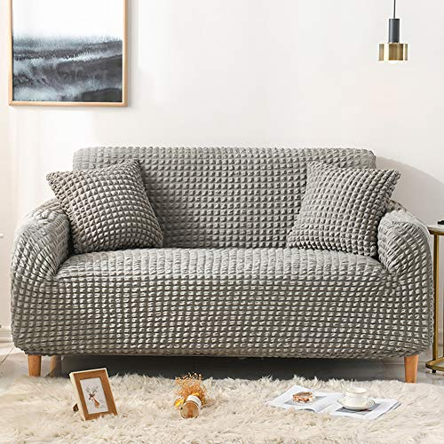 Cozomiz High Stretch Durable Sofa Slipcover Couch Cover Lattice Jacquard Easy Fitted Sofa Cover Washable Furniture Protector Loveseat Slipcover Grey
