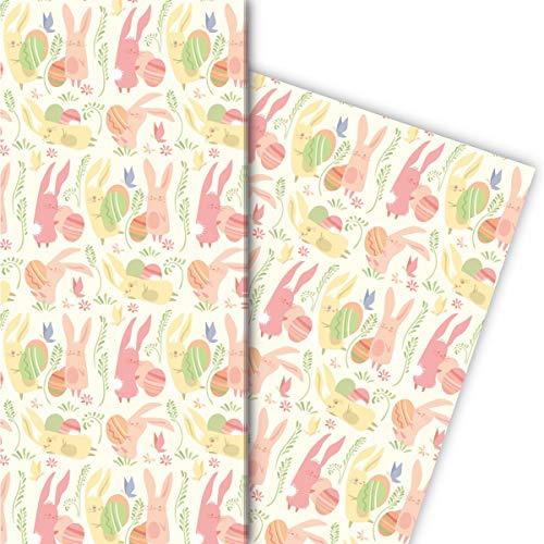 Kartenkaufrausch Vrolijk Pasen cadeaupapier set met spelende paashaas en paaseieren voor een leuke geschenkverpakking 32 x 48 cm, 4 vellen om in te pakken voor verjaardagen, geboorte, Pasen, geel