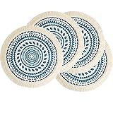 LEVIMETREE Round Placemats Set of 4, Navy Blue Placemats Cotton Woven Macrame Tessels Boho Placemats Heat Resistant Non-Slip Washable Placemats Home Boho Décor Kitchen Table mat - 13 Inch