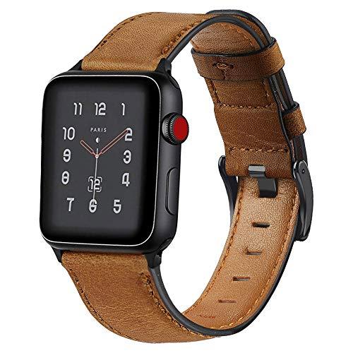 Miimall - Correa de reloj compatible con Apple Watch Sèire 1/2/3/4/5, piel de alta calidad, liberación rápida, ajustable, correa de repuesto para iWatch 1/2/3/4/5, 40 mm, 38 mm, color marrón