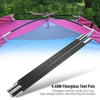 Tige de Support de Tente, kit de Poteau en Fibre de Verre Kit de Réparation de Cordon D'auvent avec Cordon Antichoc pour équipement de Tente de Camping