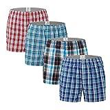 Nuofengkudu Hombre Calzoncillos American Bóxers Tartan Suave Algodón Open Fly Ropa Interior Multipack Underwear(4 Pack,Patrón A) Etiqueta 5XL/Euro 3XL