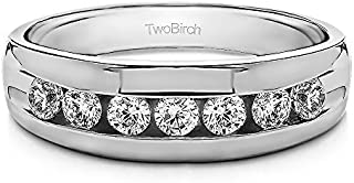 TwoBirch Sterling Silver Channel Set Men's Ring with Open End Design With Cubic Zirconia (0.24Ct, Size 11.5)