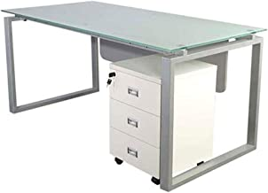 Mahmayi Glass 4116 Modern Workstation Desk With Tempered Glass Top Square Metal Legs Dual Tone Mobile Drawer-W160Cms X D75Cms X H75Cms (White) ME4116WH