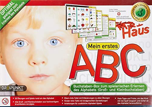 Mein erstes ABC: 60 Groß- und Kleinbuchstaben aus hochwertigem Acrylglas und zwei Info-Tafeln zum Erlernen des Alphabets in einer attraktiven Box.