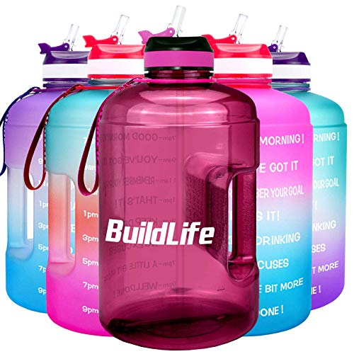 BuildLife 73OZ Motivational Water Bottle Wide Mouth with Straw & Time Marked to Drink More Daily,BPA Free Reusable Gym Sports Outdoor Large(128OZ/73OZ/43OZ) Capacity (Bright Purple, 73OZ)