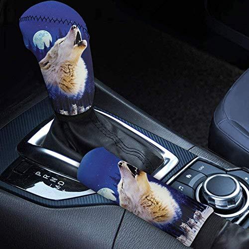 Seanative Cool Animal Wolf Print Car Gear Shift Cover y cubierta de...