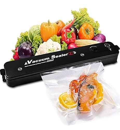 Apark Vakuumierer - Kompakter Folienschweißgerät für Lebensmittel, Trocken- und Feuchtigkeitsmodi - Vakuumiergerät inkl 16 gratis Vakuumierbeutel, Vakuumieren & Versiegeln, für Folien bis 28 cm Breite