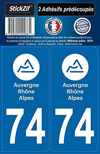 STICKZIF SR74 2 Adhésif Autocollants Région Département 74 Auvergne-Rhône-Alpes, Set de 2