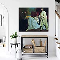 Ilya Repin印象派絵画キャンバス版画リビング部屋壁装飾壁アートパネルイエスキリストポスター玄関壁画像50x60cmフレームレス