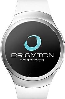 Brigmton Smartwatch BWATCH-BT5B - Reloj Teléfono Bluetooth, Táctil, Compatible con Android 4.3 o Posterior, Blanco