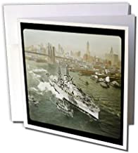 3dRose World War II American Battleship on the Hudson River New York City - Greeting Cards, 6 x 6 inches, set of 6 (gc_16088_1)