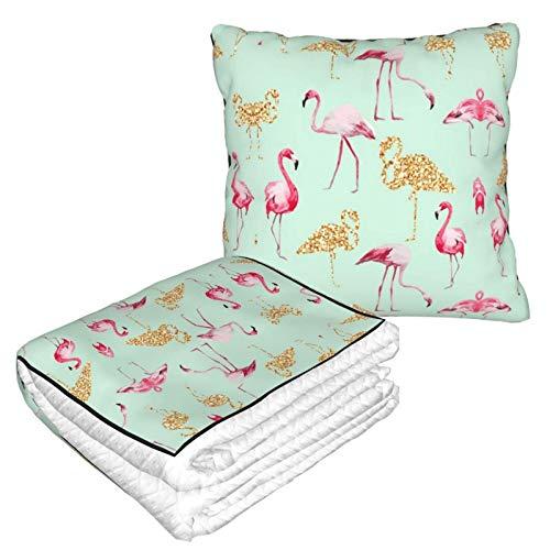 Manta suave 2 en 1 para almohada de flamenco, de forro polar, para viajes, sala de estar, sofá, oficina, para hombres y niñas