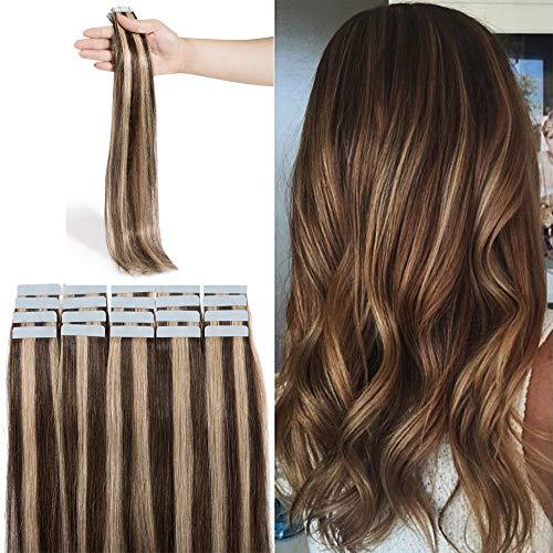 Extension Bande Adhesive Naturel Rajout Cheveux Naturel 100% Cheveux Humain Remy Pose a Froid 20 Pièces (#4+27 Châtain Méché Blond Foncé, 18\