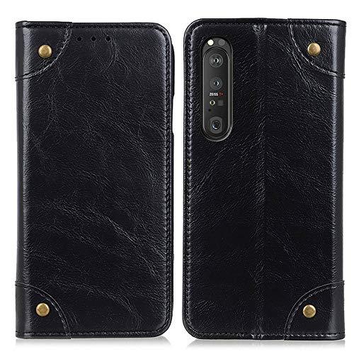 CHENDX Funda compatible con Sony Xperia 1 III, funda de piel tipo cartera, funda de piel de primera calidad, funda de TPU suave, ranura para tarjetero, función atril magnética plegable (color negro)