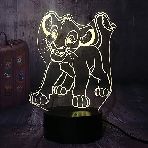 Cartoon Der König der Löwen Simba 3D Optische Täuschung LED Nachtlicht Junge Kinderspielzeug Kindliche Tischlampe Cooles Schlafzimmer Dekor Baby Geburtstagsgeschenk Lösung für Albträume