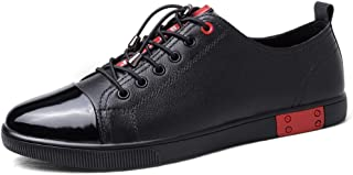 ZUAN Fashion Sneakers for Men Skate Shoes Lace Up Genuine Leather Breathable Wear Tolerant Easy Care Walking Rhythm Toe
