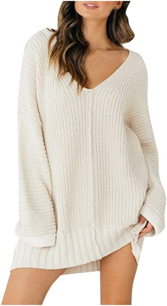 RiamxwR Pocciol Long Sleeve Sweater for Women Solid Color Bat-Sleeve V-Neck Pullover Long-Sleeved Thin Sweater Outerwear