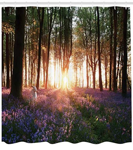 ABAKUHAUS Wald Duschvorhang, Sonnenaufgang Woods im Frühjahr, Personenspezifisch Druck inkl.12 Haken Farbfest Dekorative mit Klaren Farben, 175 x 200 cm, Lila grün