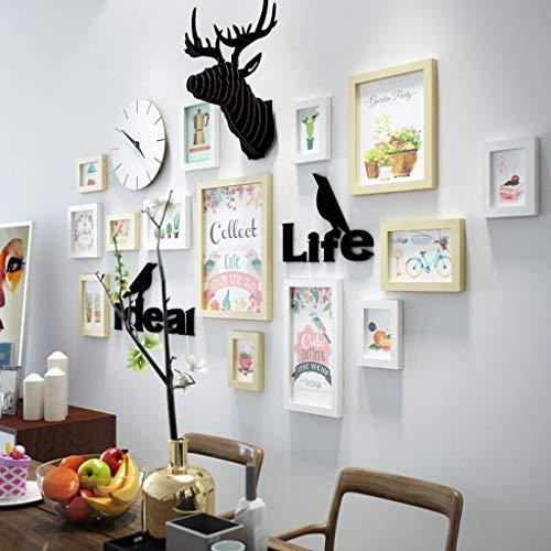Jjek K- creatieve foto muur houten herten hoofd simulatie decoratie prachtige leven brief eenvoudig patroon muur klok foto muur 14 stks