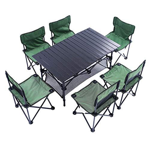 Opvouwbare campingtafelstoelen set, verstelbare hoogte campingtafel met 6 stoelen, draagbare tafel en stoelen voor kantoortuin buiten