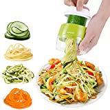 Handheld Spiralizer Vegetable Slicer 3 in 1 Spiralizer Grater Slicer for Vegetables, Spaghetti, Fruit, Thick and Thin Pasta Spirals, Easy to Clean Best for Low Carb/Paleo/Gluten-Free Meals (Green)
