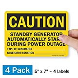 "SmartSign ""Caution - Standby Generator Automatically Starts During Power Outage"" Label 
