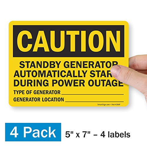 """SmartSign """"Caution - Standby Generator Automatically Starts During Power Outage"""" Label   5"""" x 7"""" Polyester with SuperStick Adhesive, Pack of 4"""