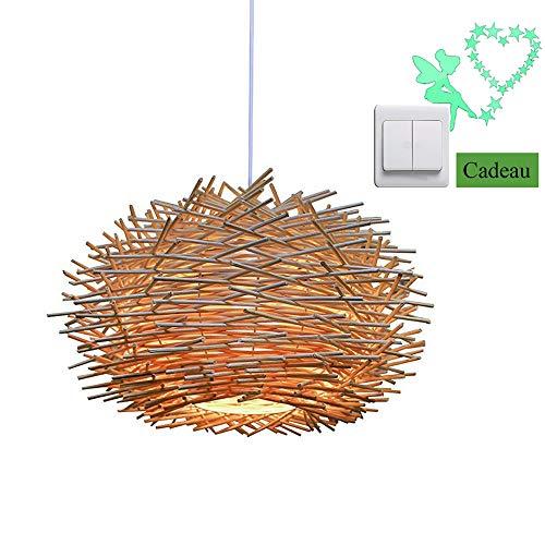 Suspension lumineuse en rotin, lustre réglable en nid d'oiseau, plafonnier de la salle à manger de la chambre à coucher (40cm), Donner des stickers muraux fluorescence nocturne