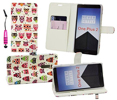 Emartbuy® Eingabestift Pack for OnePlus 2 / OnePlus Two Metallic Mini Hot Rosa Eingabestift + Brieftaschen Wallet Etui Hülle Case Cover aus PU Leder Eules mit Kreditkartenfächern + LCD Displayschutz