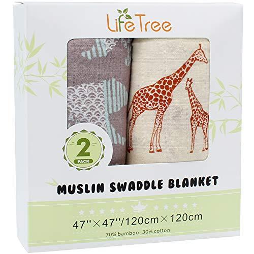 LifeTree Mousseline Inbakerdoek, 2 Stuks 120cm x 120cm Baby Deken Inbakerdoek, 70% Bamboe en 30% Katoen Inbaker- Wikkeldoeken Patroon Beer & Giraffe