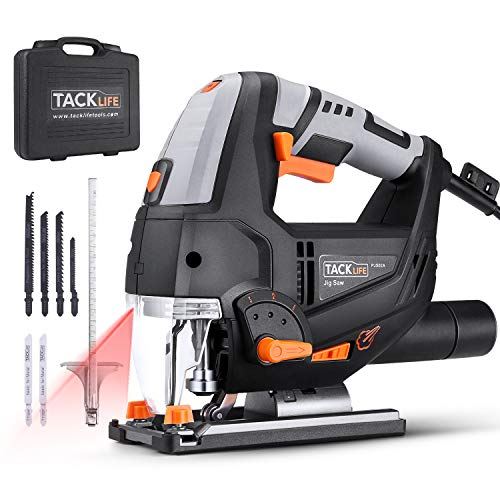 Jigsaw, TACKLIFE 6.7 Amp 3000 SPM with Laser & LED, Variable Speed, Carrying Case, 6 Blades, Adjustable Aluminum Base, Pure Copper Motor, 10 Feet Cord - PJS02A