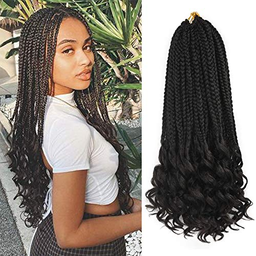 7 Packs Ombre Box Braids Crochet HairWave Crochet Box Braids with Curly Ends Bohemian Box Braid Curly Crochet Braids Hair Prelooped Synthetic Braiding Hair Extensions for Black Women (1B, 18inch)