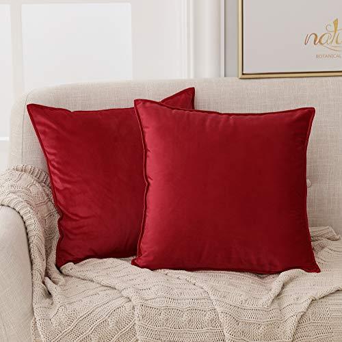 Deconovo Zierkissenhülle Samt Kissenüberzug Weihnachten Dekorativer Kissenbezug Sofa Schlafzimmer 40x40 cm Rot 2er Set