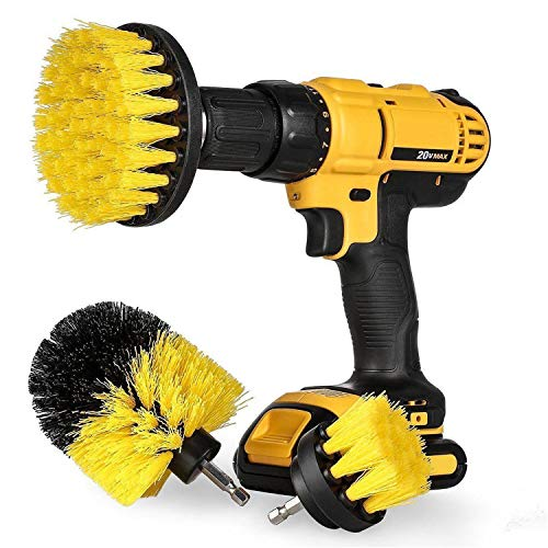 Bond Hardware Set Of 3 Drill Brush Attachment Power Scrubber Cleaning Kit All Purpose for Bathroom Surfaces, Grout, Floor, Tub, Shower, Tile, Corners, Kitchen - Fits Most Drills, Yellow