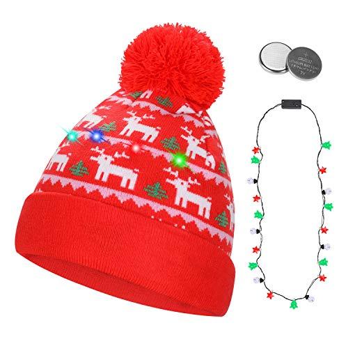 QKURT Gorro Unisex con luz LED, Colorido Gorro de Navidad de Navidad para Fiestas navideñas Fiestas de celebración del Festival Sombrero de Nieve de Invierno para Interiores y Exteriores