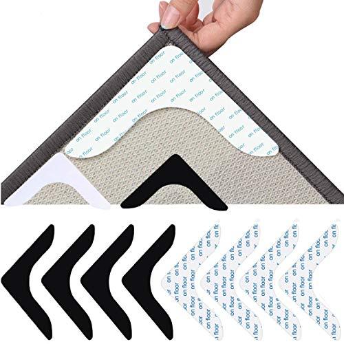 Fiyuer 8 Stück Teppichgreifer Antirutschmatte Teppich Teppichunterlage Antirutsch rutschfest Teppichstopper Antirutschpads Rutschschutz Washable Wiederverwendbar Starke Klebrigkeit Teppich Aufkleber