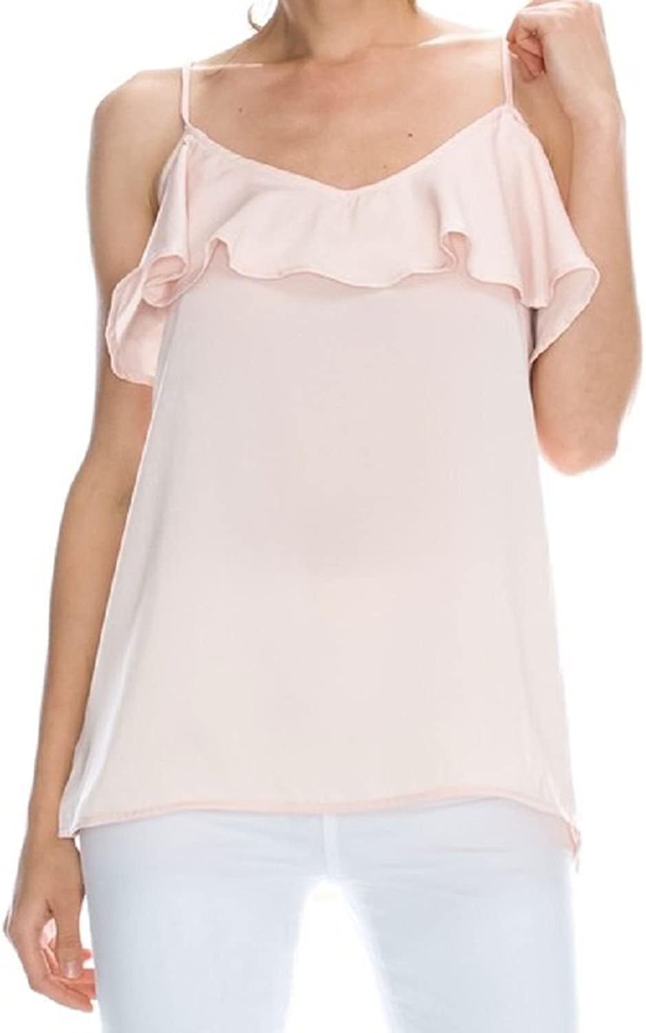 Mono B Ruffle Edge Satin Crepe Cami Soft Peach Tank Top