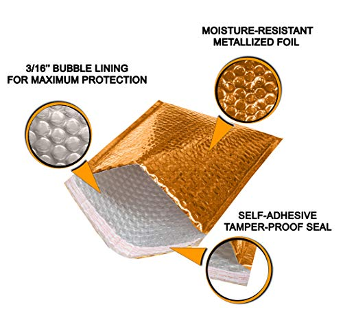 ABC 10 Pack Gold Bubble mailers 13 x 11. Folder size Metallic padded envelopes 13x11. Cushion envelopes Peel and Seal. Large padded mailing envelopes for shipping, packing, packaging. Wholesale Photo #6
